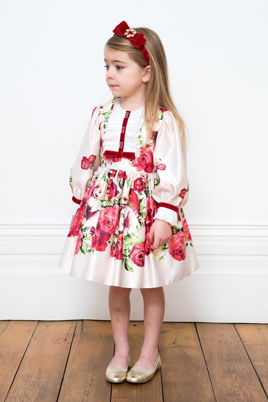 577a87441605 Smetanové a červené růže strana šaty - David Charles dětské oblečení