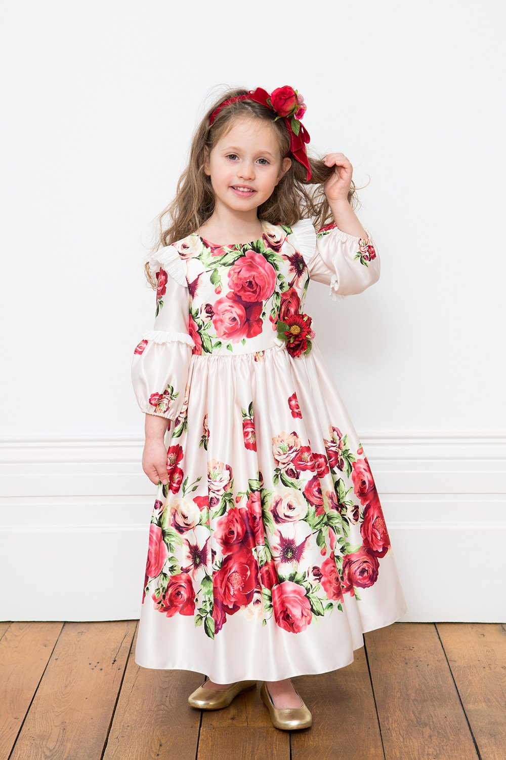 Creme und rote Rose Märchen Kleid - David Charles Childrens Wear