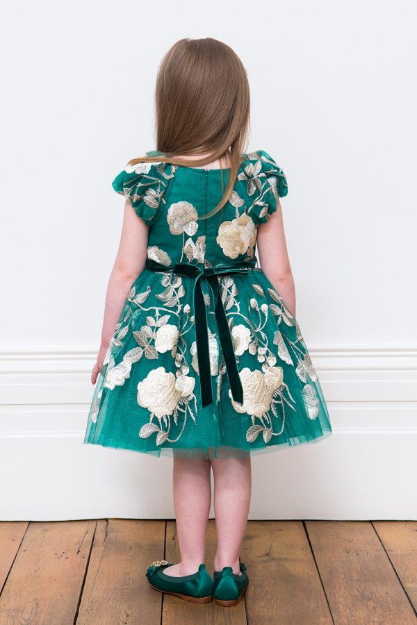 Jewel Green and Gold Occasion Gown