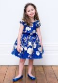 Royal Blue and Gold Occasion Gown