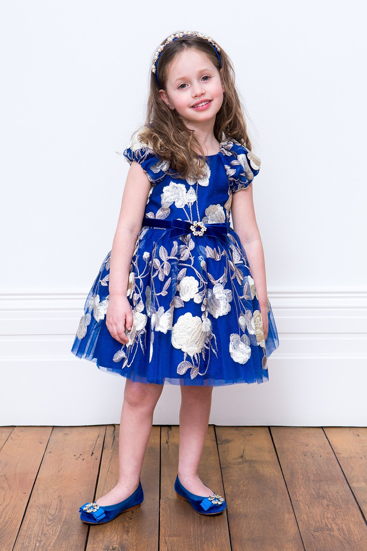 b9c8889353 Királyi kék és arany alkalmi ruha - David Charles gyermekruházat