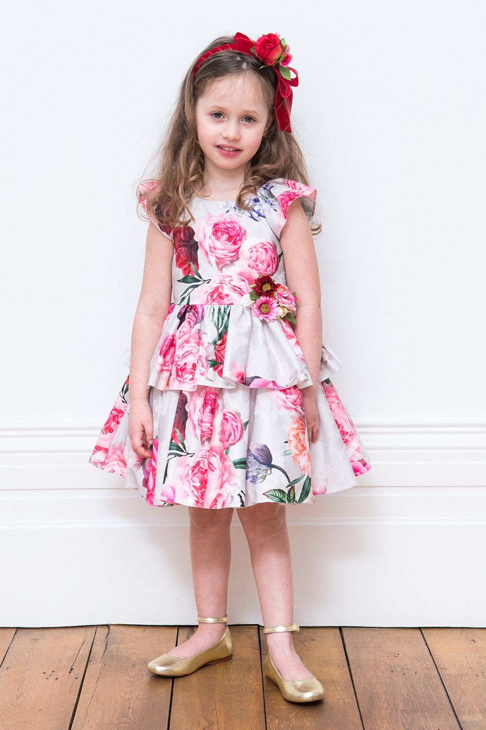 Vestido Bouquet Marfil y Rosado - David Charles Childrens Wear