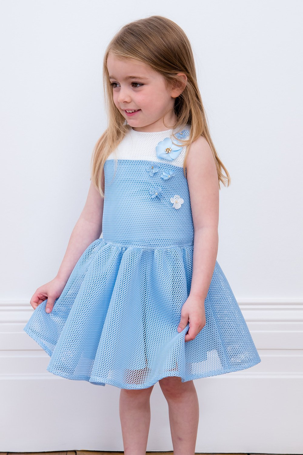 Baby blue and ivory flower dress david charles childrens wear baby blue and ivory flower dress izmirmasajfo Image collections