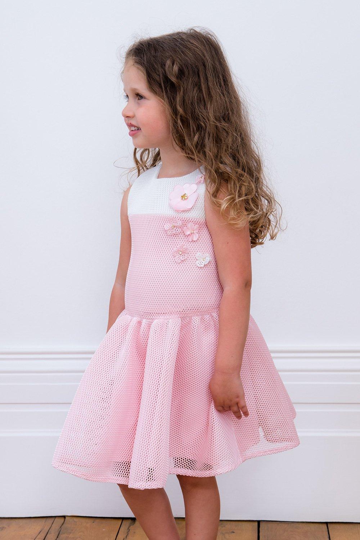 Vestido de flores rosa y marfil bebé - David Childrens Wear