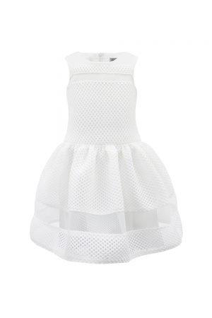 Ivory Textured Flower Girl Dress