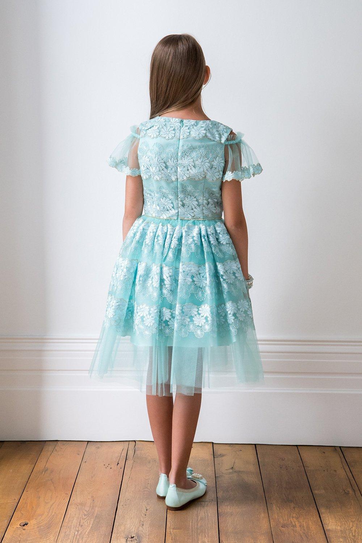 Turquoise Cold Shoulder Prom Dress - David Charles Childrens Wear