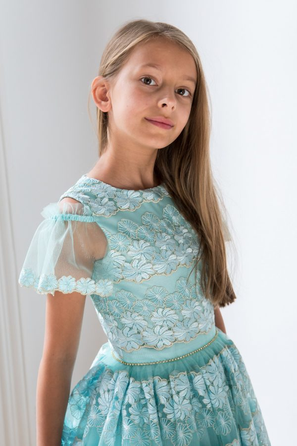 Turquoise Cold Shoulder Prom Dress