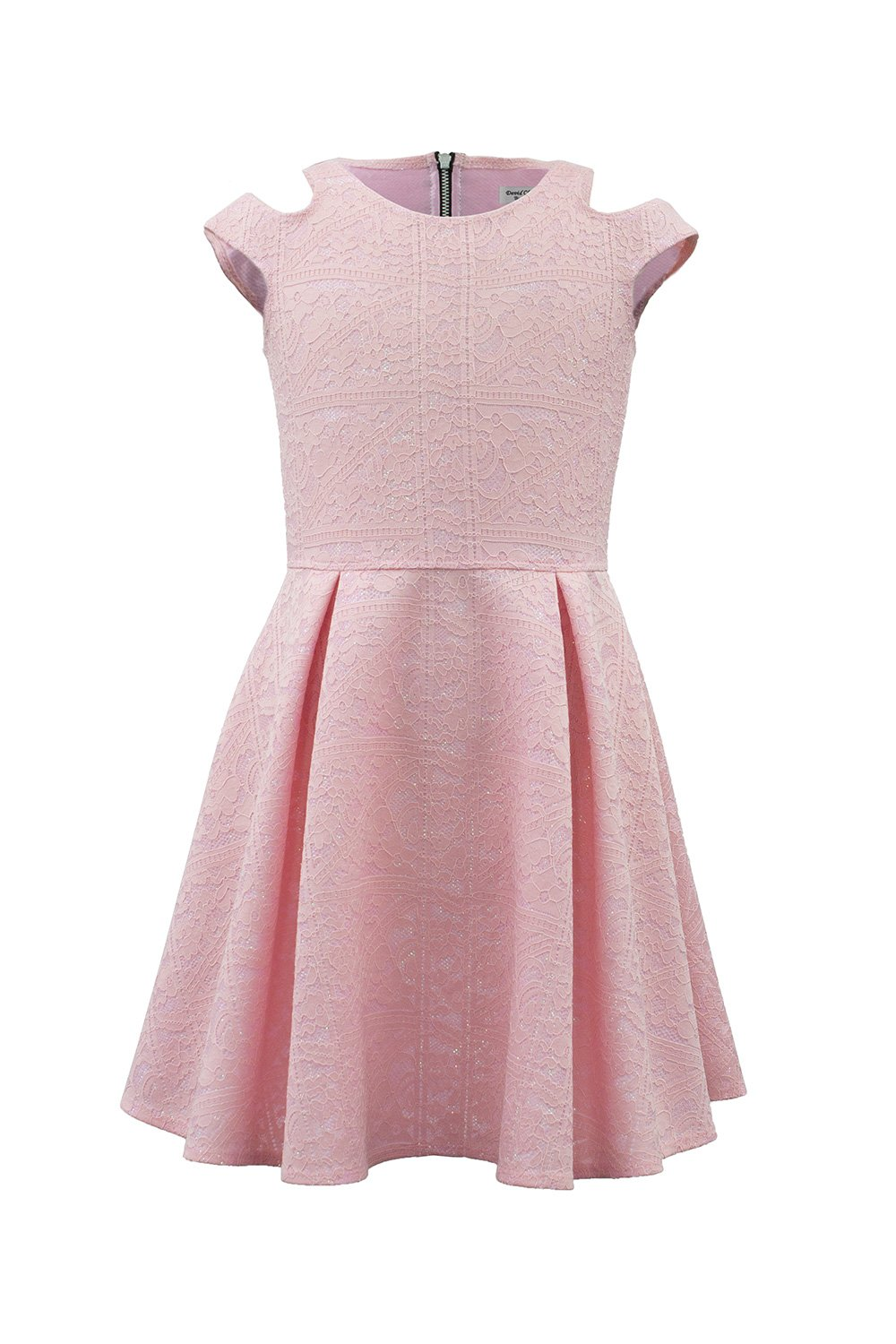 Vestido de encaje floral en color rosa - David Charles Childrens Wear