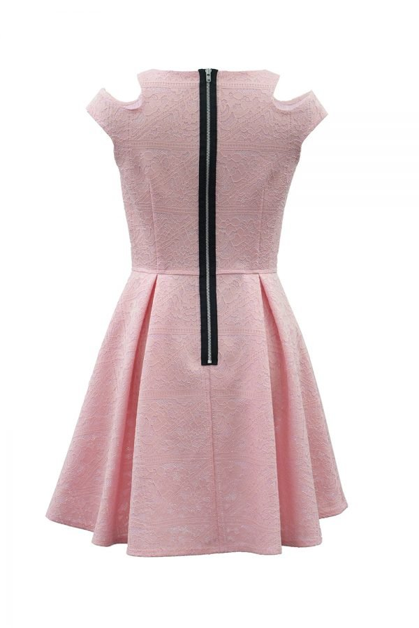 Pink Floral Techno Lace Dress