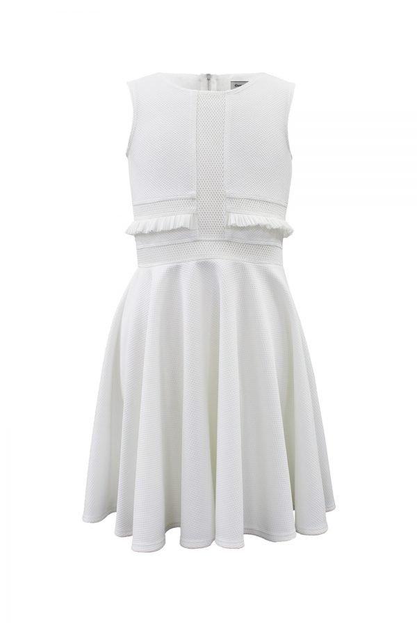 Ivory Casual Ruffle Trim Dress