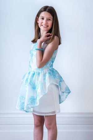 Sky Blue and Ivory Peplum Dress