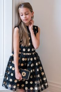 Discount Black and Gold Polka Dot Dress