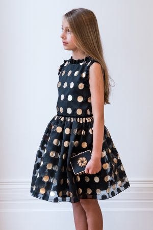 Black and Gold Polka Dot Dress
