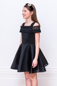 Black Lace Fringe Formal Dress