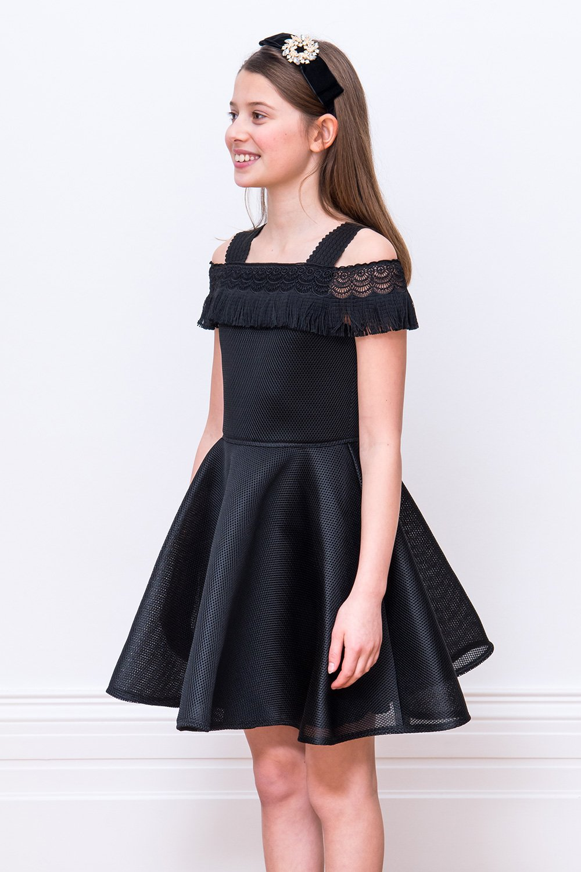 8e13b9c86 Vestido formal de encaje negro - David Charles Childrens Wear
