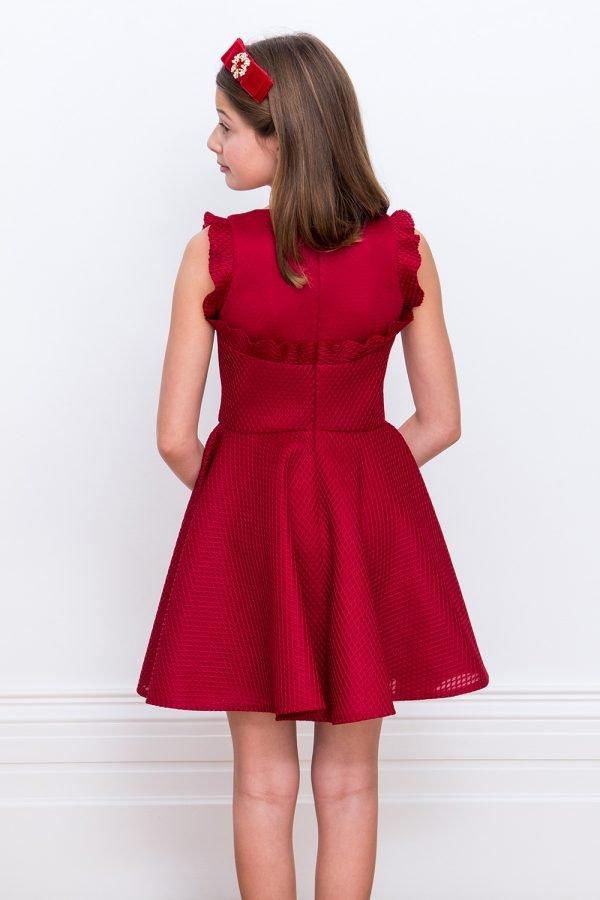 Red Wine Ruffled Prom Dress