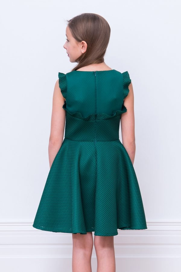 Green Ruffled Prom Dress