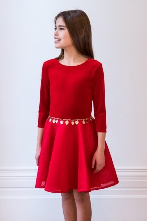 Red and Gold Holiday Gown