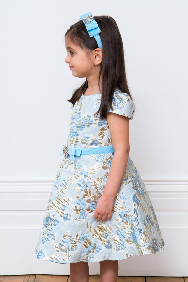 Blue Brocade Floral Party Gown