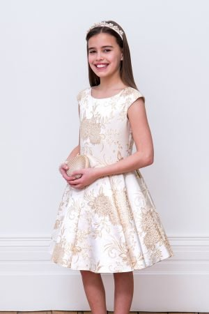 Ivory and Gold Damask Gown