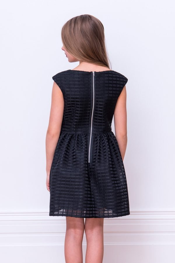 Black Self Colour Check Dress