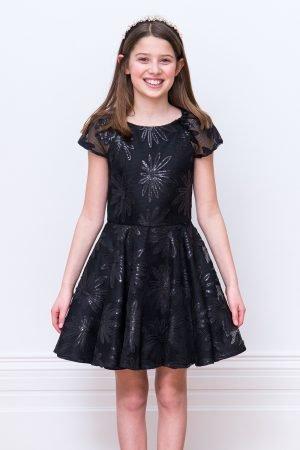 Black Floral Sequin Gown