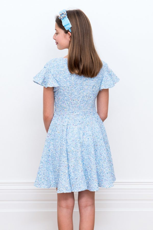 Sky Blue Tweed Shift Dress