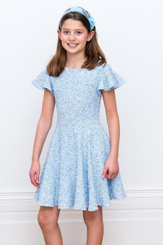 b466a7a3a8d3 Sky Blue Tweed Shift Dress - David Charles Childrens Wear