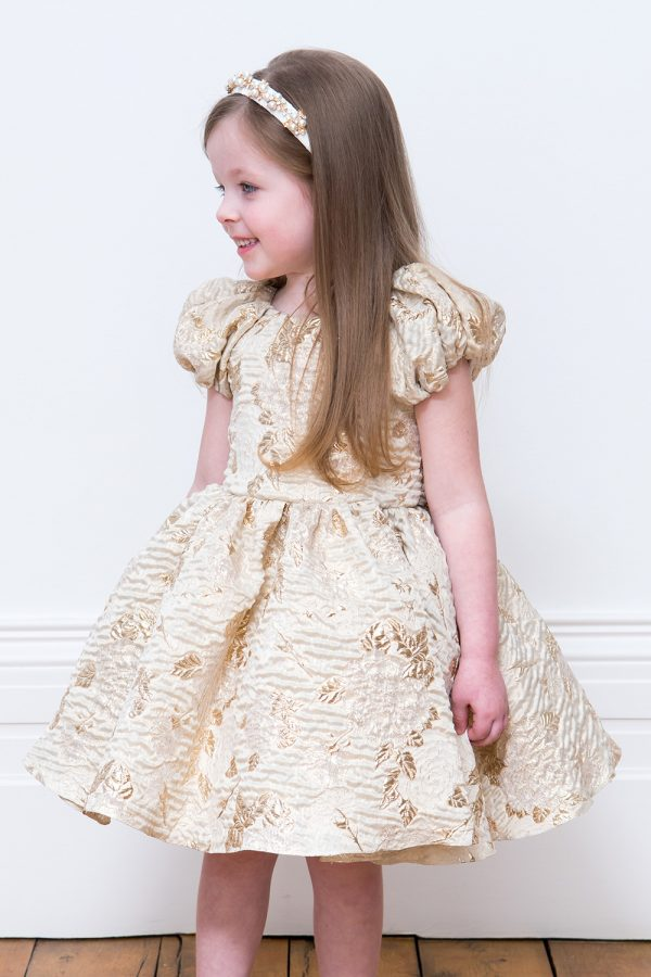 Gold Leaf Flower Girl Gown