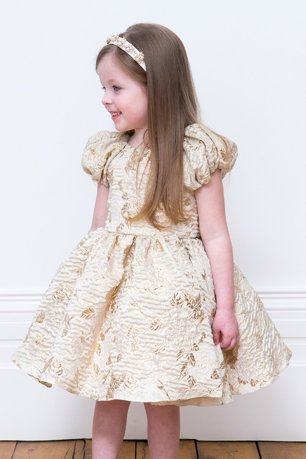 3a0e355e4e20 Gold Leaf Flower Girl Gown - David Charles Childrens Wear