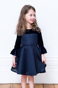 Navy Fluted Sleeve Dress