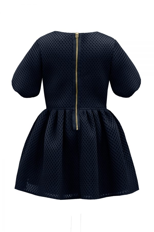 Navy Bow Balloon Sleeve Dress