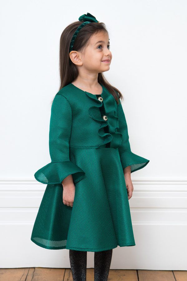 Festive Green Jewel Party Gown