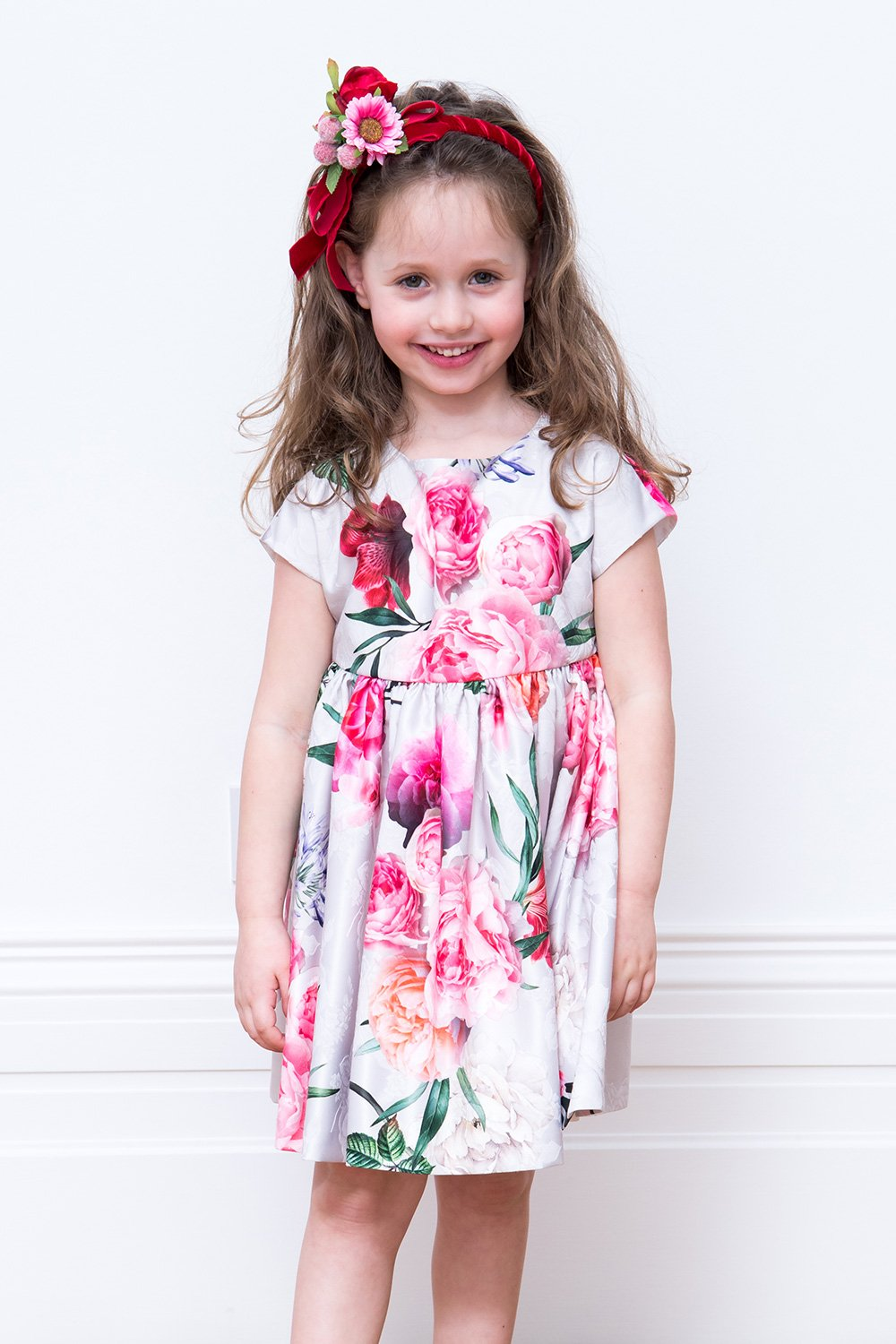 Ivory And Pink Floral Tea Dress David Charles Childrens Wear