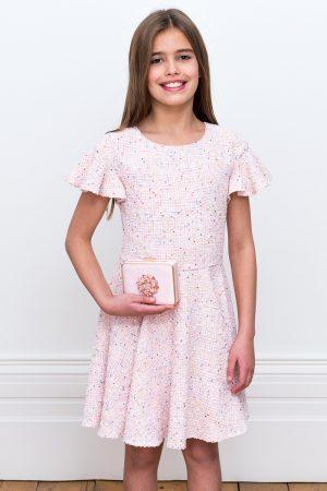 Pastel Pink Tweed Shift Dress