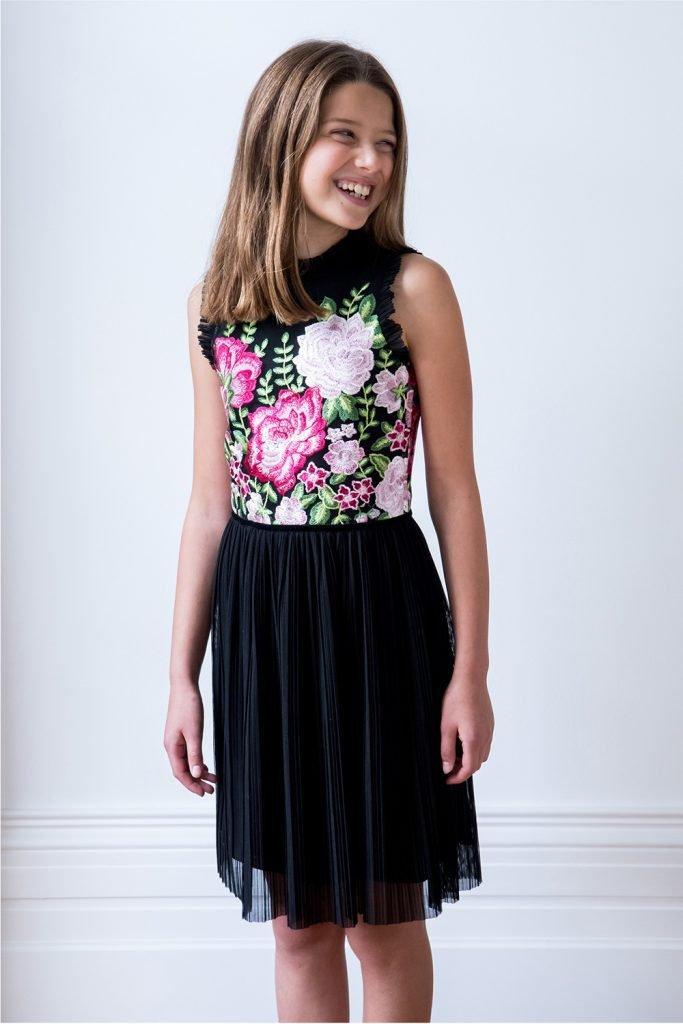 de3a14f9b فستان مناسبات الأزهار باللون الأسود - ملابس أطفال ديفيد تشارلز