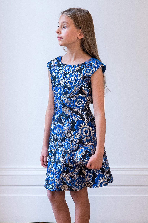 Royal Blue Floral Jacquard Gown - David Charles Childrens Wear