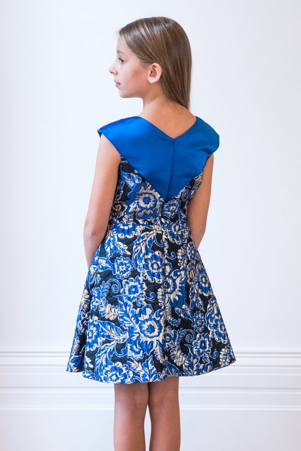 Royal Blue Floral Jacquard Gown