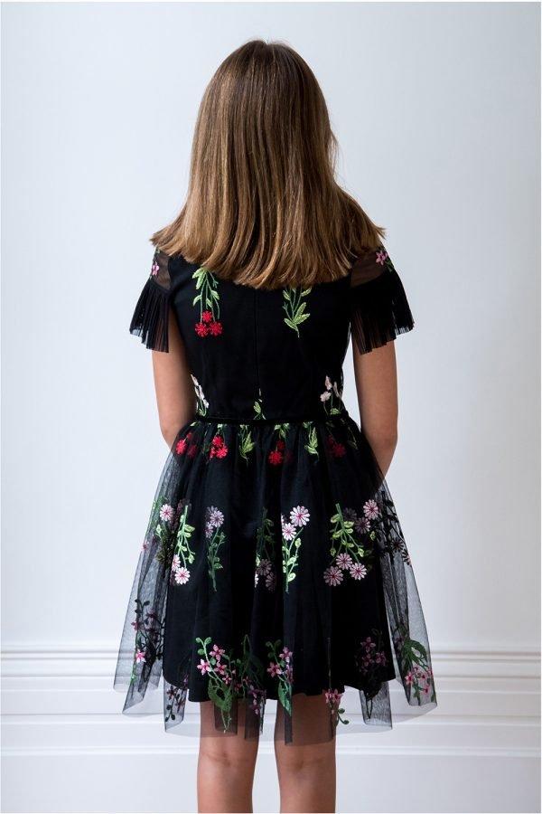 Black Botanical Party Dress