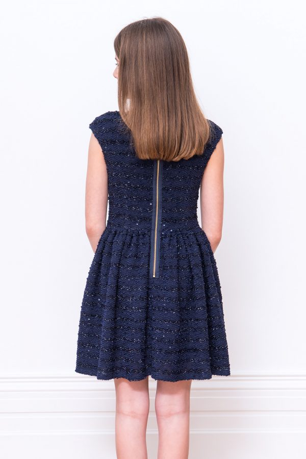 Navy Stretch Boucle Dress