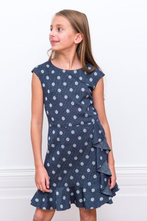 Navy and Grey Frill Dress
