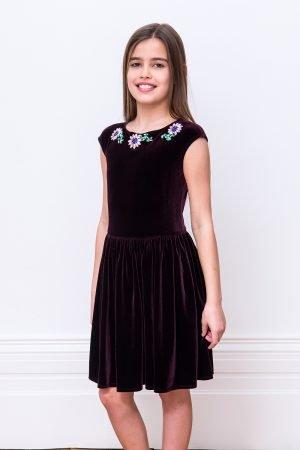 Plum Velvet Floral Party Dress