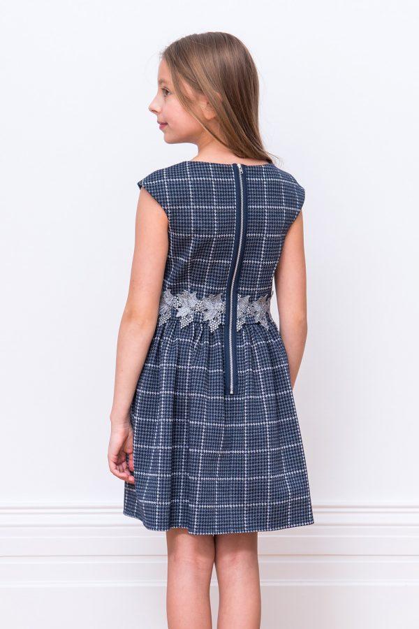 Navy Knit Check Dress