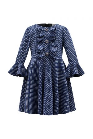 Royal Blue Fluted Ruffle Dress