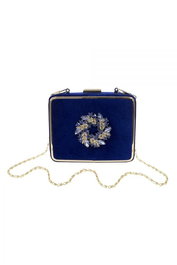 Royal Blue Box Clutch Bag