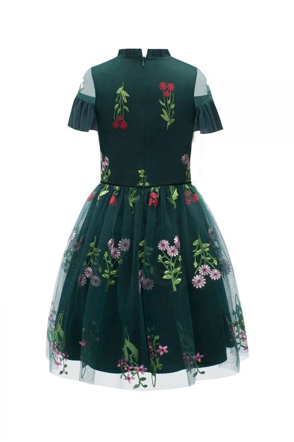 Green Botanical Party Dress
