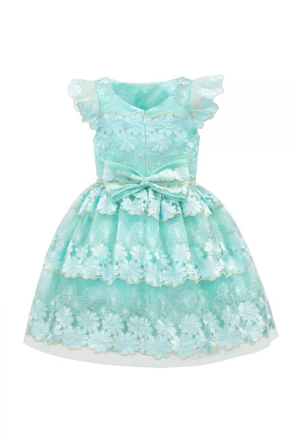Turquoise Flower Girl Gown
