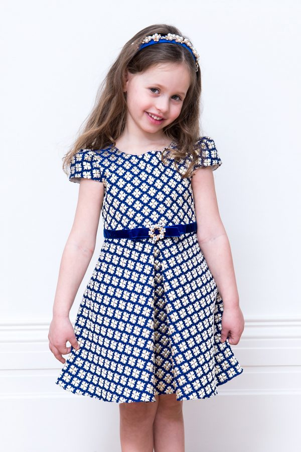 Royal Blue Brocade Birthday Dress