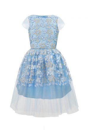 Pastel Blue Floral Party Gown