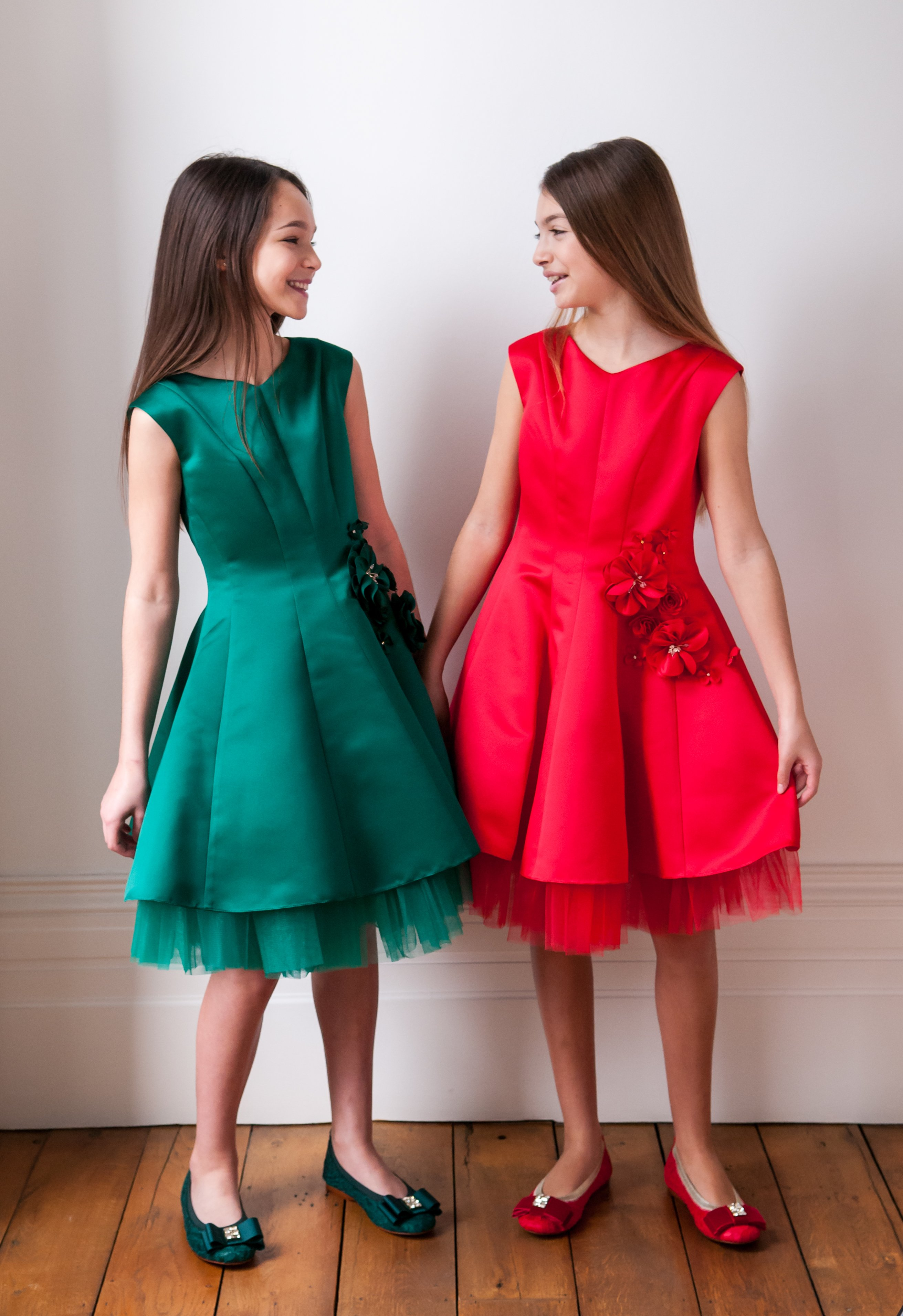 Green and Red Layered Dresses